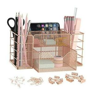 Metal Desk Supplies Organizer With Caddy Office Pencil Holder Multi Rosegold