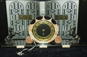 Magnificent 1930 S Art Deco Marble Mantle Clock With Mustangs