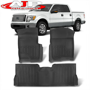All season Protect Floor Mats Liner Front rear For 2009 2014 Ford F150 Supercrew