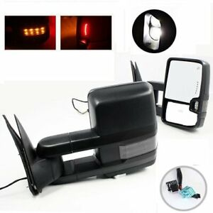 Pair For 03 06 Silverado Sierra Power Heated Led Signal Towing Side View Mirrors