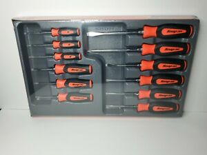 Snap On Tools 12pc Soft Grip Combination Screwdriver Set Orange Sgdxw120bo New