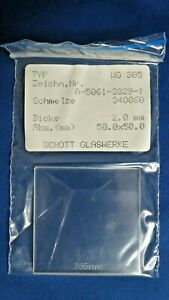 Schott Wg 305 50mm Square 2mm Thick Glass Longpass Filter 340060 305nm