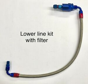 Six Pack Braided Lower Fuel Line Kit With Filter Black Or Blue