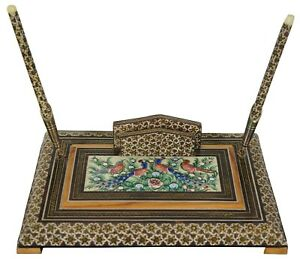 Moroccan Inlaid Lacquered Desk Top Set Pens Note Letter Mail Holder Vintage