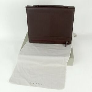 Levenger Espresso Brown Leather Zip Folio Office Portfolio Handle Box New