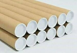 10 2 X 24 Cardboard Shipping Mailing Tube Tubes Cores With End Caps