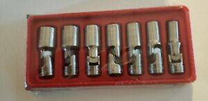 New Snap on 7 Pc 3 8 Dr Sae 6 point Deep Universal Socket Set 207fsu