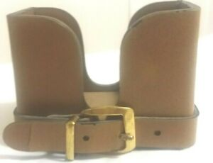 Leather Business Card Holder With Belt Buckle Design On Front Medium Brown