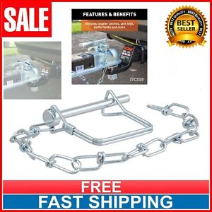 Trailer Coupler Safety Pin Chain Curt Square Tongue Latch Clip Towing Hitch Lock