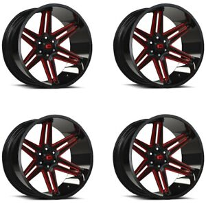 Set 4 20x10 Vision 363 Razor Black Milled Spoke Red Tint 6x135 25mm W Lugs