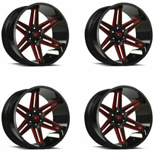 Set 4 20x10 Vision 363 Razor Black Milled Spoke Red Tint 5x5 Rims 25mm W Lugs