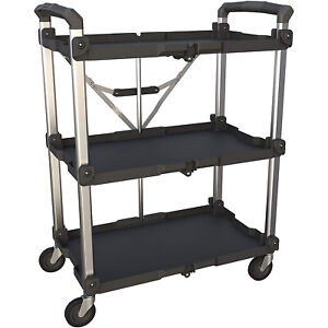 Olympia Tools Pack N Roll Folding Service 300 Lb Capacity 3 Shelf Utility Cart