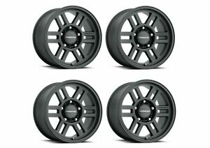 Set 4 16x8 Vision Off Road Manx 2 Overland Black 6x5 5 Wheels 0mm Rims W Lugs