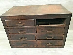 Vintage Wood 8 Drawer Parts Storage Cabinet Machinist Shop Missing 1 Drawer