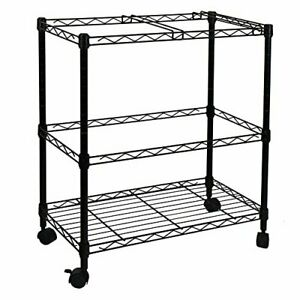 2 tier Metal Rolling File Cart Black