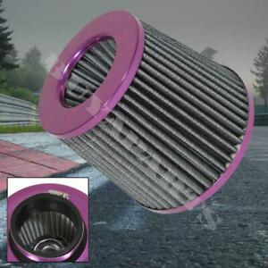 Purple 3 Inch Inlet High Flow Short Ram Cold Intake Round Cone Mesh Air Filter