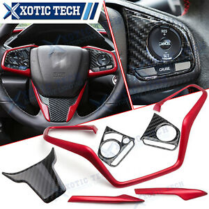 6x Carbon Fiber Red Steering Wheel Cover Trim Combo For Honda Civic 2016 2020