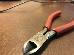 Snap On Tools Usa Diagonal 5 Inch Long Cutter Wire Snips Dikes Red Vector Edge