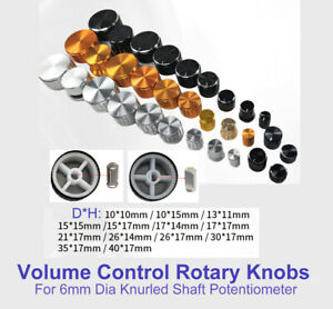 Al Alloy Volume Control Rotary Knobs For 6mm Dia Knurled d Shaft Potentiometer