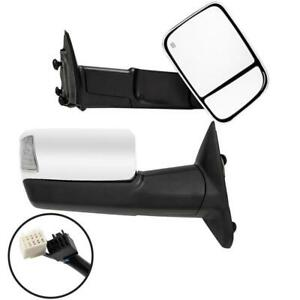 Pair Power Heated Flip up Chromed Tow Mirror With Signal For Dodge Ram 2009 2012