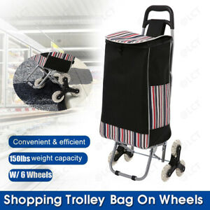 Folding Shopping Trolley Dolly Cart Bag W Stool Wheel Portable Grocery Holder