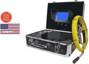Sewer Drain Pipe Cleaning System 130ft Cable Inspection Video Snake Camera 7 lcd