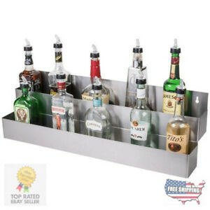 32 Stainless Steel Double Tier Commercial Bar Speed Rail Liquor Display Rack