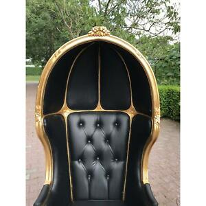 French Black Leather Balloon Chair New