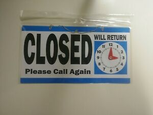 Double Sided Open Closed Will Return Sign With Clock Hands 6 X 11 5