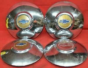 1949 1950 Chevrolet 49 50 Dog Dish Hubcaps Center Caps Wheel Covers Set Of 4