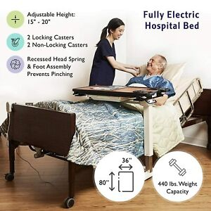 Full Electric Hospital Bed Pkg With Mattress And Rails Fully Adj Home Care Use