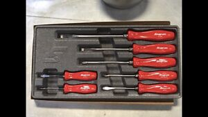 New Snap On 7 Piece Red Hard Gloss Handles Screwdriver Set Sddx70ar Unsealed