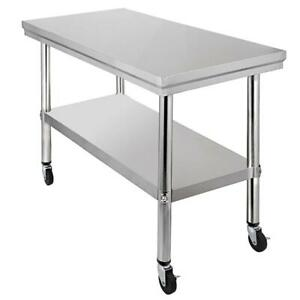 Industrial Kitchen Utility Table Rolling Cart Casters Shelving Stainless Steel