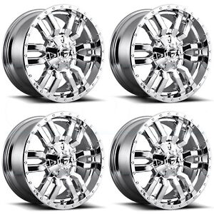 20x10 Fuel D631 Sledge 8x180 18 Chrome Wheels Rims Set 4