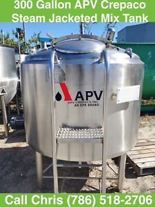 300 Gallon Apv Crepaco 75psi Steam Jacketed Stainless Steel Mix Tank