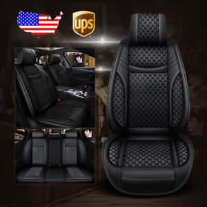 Universal Car Suv 5 Seat Pu Leather Flax Seat Covers Front Rear Cushion Black