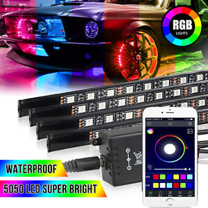 4x 8color Rgb Led Strip Under Car Tube Underglow Underbody System Light Kit Usa
