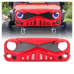 Red Front Hawke Bumper Grille Guard W Mesh For 07 18 Jeep Wrangler Jk Jku Abs
