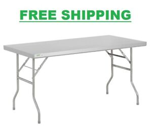 30 X 60 18 gauge Stainless Steel Commercial Folding Work Prep Tables Open