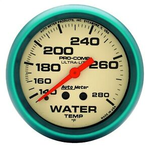 Autometer 4535 Ultra Nite Gauge For Water Temperature W White Dial Face