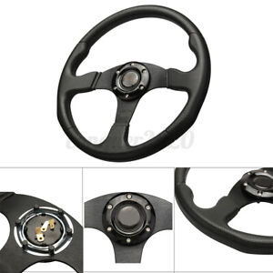 Professional 350mm Deep Dish 6 Bolt Racing Steering Wheel Pu Leather Horn Button