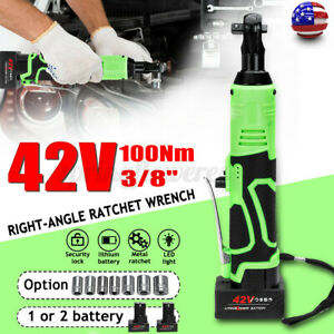 Usa 3 8 42v 100nm Electric Cordless Ratchet Right Angle Wrench Tool 2 Battery