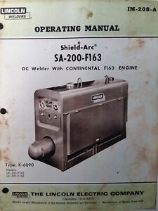 Lincoln Sa 200 Dc Gas Engine Welder Owner Parts Service Manual Pipeliner 1968