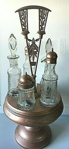 Antique Victorian Silver Plate Cruet Condiment Set Caddy With Etched Glass