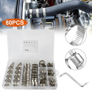 Stainless Steel Adjustable Pipe Hose Clamp Set Fuel Air Pipe O Clips Tool