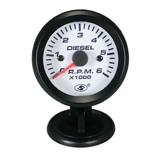 52 Mm Electrical Tachometer Gauge For Diesel Automobile 6000 Rpm On Dash White