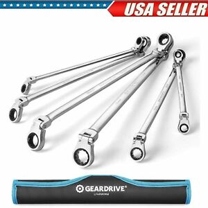 Extra Long Flex head Double Box End Ratcheting Wrench Set Metric Organizer Pouch