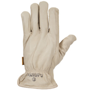 Plainsman Fleece Lined Cowhide Leather Work Glove White Medium