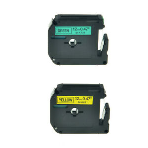 2pk Mk 631 731 Black On Yellow green Label Tape For Brother P touch Pt 55bm 1 2