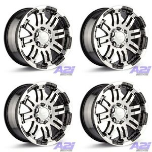 Set 4 18x8 5 Vision 375 Warrior Black Machined Wheels 6x4 5 18mm 6 Lug W Lugs